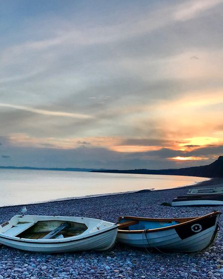 Calm but chilly Budleigh Beach at sunset. Keeping it local and enjoying the beautiful East Devon coa