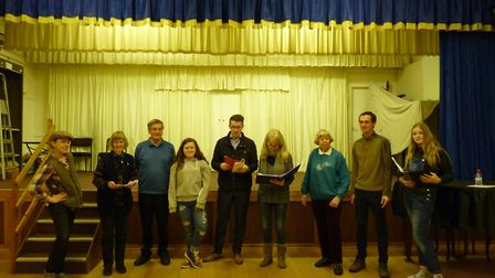 Members of the cast preparing for Branscombe Players' production of Jack and the Beanstalk