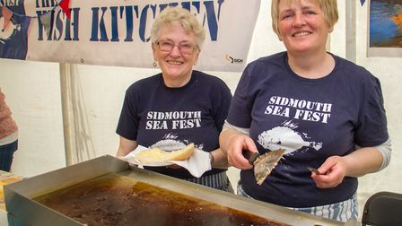 Mary and Kay Bagwell of Sidmouth Trawlers at the Sidmouth Sea Fest. Ref shs 20-17TI 2926. Picture: T
