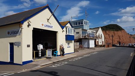The Sidmouth Lifeboat station, sailing club and Drill Hall at Port Royal