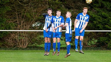 The Ottery St Mary wall in action during the 1-0 win over Clyst Valley. Picture ANTHONY ROWE LRPS