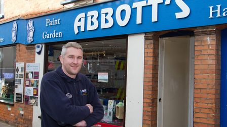 Ref Chris Abbott outside his shop in Ottery St Mary. sho 06 18TI 7226. Picture: Terry Ife