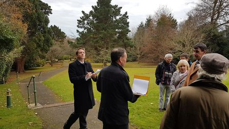Planning inspector Michael Boniface (left) making a site visit after the Knowle inquiry