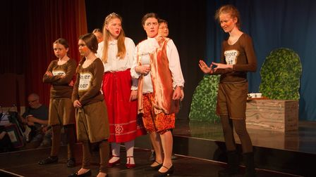 Ottery Community Theatre's production of Jack and the half baked beanstalk. Ref sho 04 18TI 6852. Pi