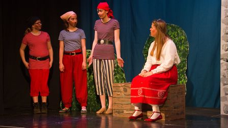 Ottery Community Theatre's production of Jack and the half baked beanstalk. Ref sho 04 18TI 6847. Pi