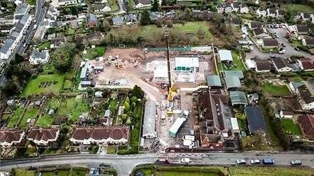 An aerial shot of the new primary school at Newton Poppleford, showing how the new building is comin