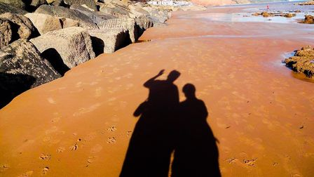 "We took this ""selfie"" a couple of years ago one late summer afternoon on Sidmouth beach, found it qu"