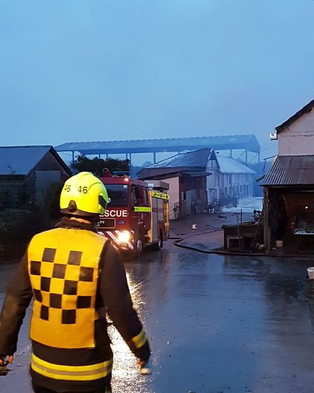 Sidmouth firefighters have helped at a barn fire near Ottery. Credit: Sidmouth Fire Station