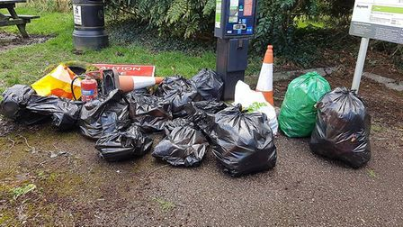 Some of the bags collected by volunteers.