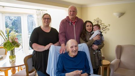 Ken Trenchard with four generations of his family. Ref shs 07-18TI 7753. Picture: Terry Ife