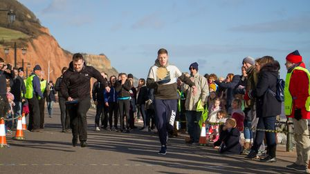 Pancake Races in Sidmouth organised by Sid Valley Rotary Club. Ref shs 07-18TI 7869. Picture: Terry