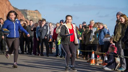 Pancake Races in Sidmouth organised by Sid Valley Rotary Club. Ref shs 07-18TI 7860. Picture: Terry