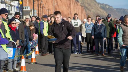 Pancake Races in Sidmouth organised by Sid Valley Rotary Club. Ref shs 07-18TI 7833. Picture: Terry