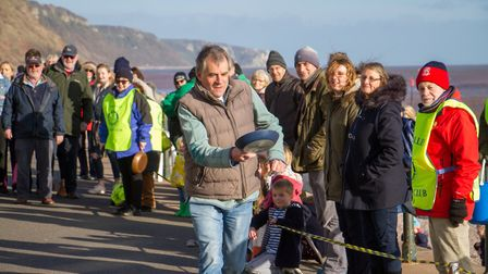 Pancake Races in Sidmouth organised by Sid Valley Rotary Club. Ref shs 07-18TI 7835. Picture: Terry