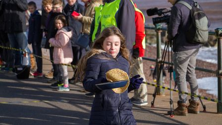 Pancake Races in Sidmouth organised by Sid Valley Rotary Club. Ref shs 07-18TI 7826. Picture: Terry