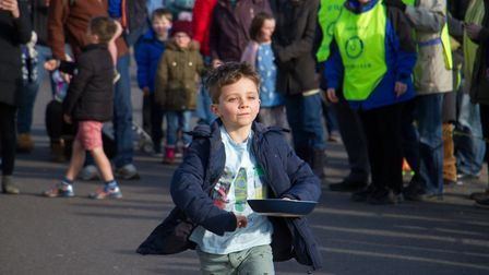 Pancake Races in Sidmouth organised by Sid Valley Rotary Club. Ref shs 07-18TI 7823. Picture: Terry