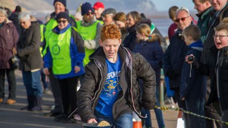 Pancake Races in Sidmouth organised by Sid Valley Rotary Club. Ref shs 07-18TI 7822. Picture: Terry