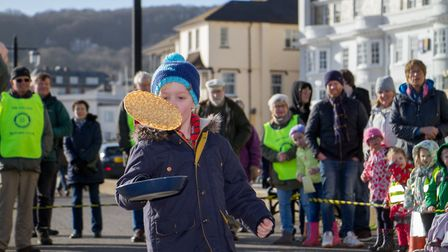 Pancake Races in Sidmouth organised by Sid Valley Rotary Club. Ref shs 07-18TI 7841. Picture: Terry