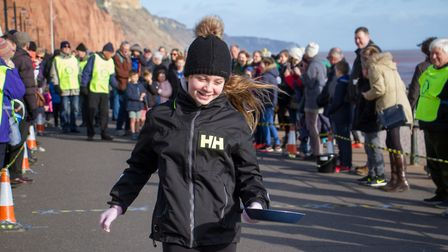 Pancake Races in Sidmouth organised by Sid Valley Rotary Club. Ref shs 07-18TI 7820. Picture: Terry