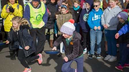Pancake Races in Sidmouth organised by Sid Valley Rotary Club. Ref shs 07-18TI 7800. Picture: Terry