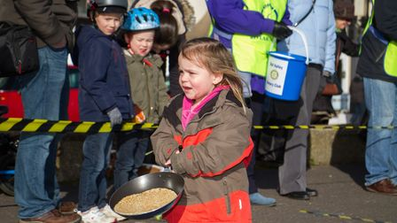Pancake Races in Sidmouth organised by Sid Valley Rotary Club. Ref shs 07-18TI 7786. Picture: Terry