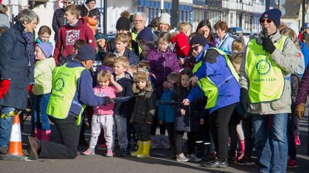 Pancake Races in Sidmouth organised by Sid Valley Rotary Club. Ref shs 07-18TI 7779. Picture: Terry