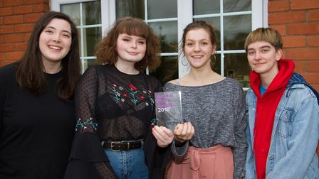 Hattie Moore,Summer Wise,Beth Johnson and Leo Hall-Howl of Kings School with their award. Ref sho 06