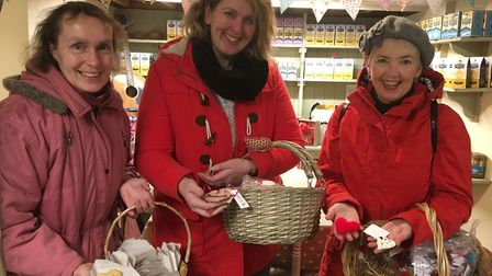 Anne Sadler, Kirsty Hammond and Avril Dale with a selection of the hearts handed out.