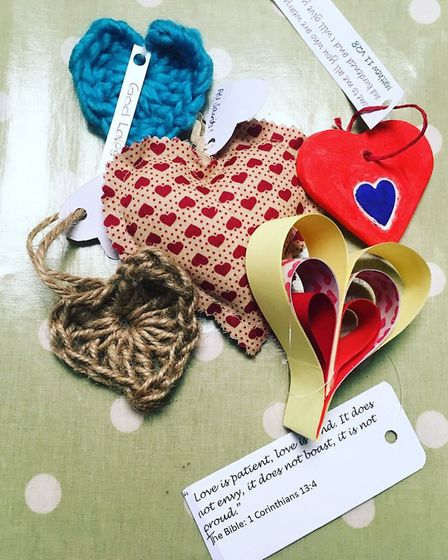 A selection of the hearts handed out on Valentine's Day by members of All Saints Church.