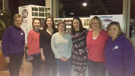Olympian Jo Pavey with Jo Earlam, Pauline Beare and the IP Office team