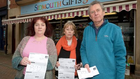 Natalie Bowditch of Sidmouth Wines, Sharon Hobson of Flutterbys and John Wycherley of Sidmouth Gifts