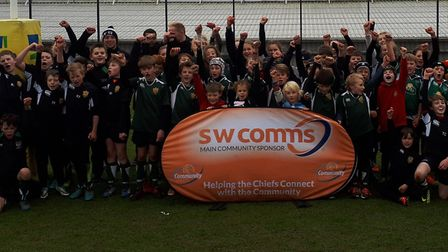 The juniors, including a large contingent from Sidmouth RFC, who were at Sandy Park for a coaching s