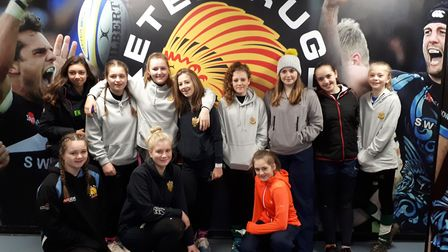Sidmouth RFC girls, who were at Sandy Park for a coaching session before taking in the Anglo Welsh C
