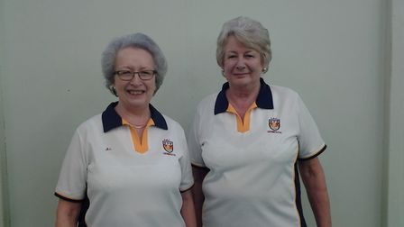Sidmouth lady bowlers Jill Bishop and Carol Smith, who were part of the successful Devon ladies leag