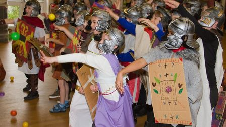 Roman Invasion Day at Littleham school. Ref exe 09 18TI 8473. Picture: Terry Ife