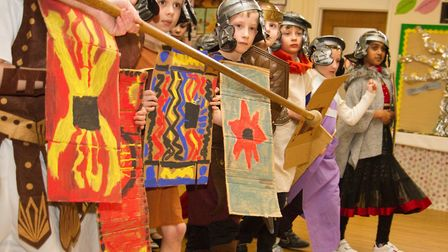 Roman Invasion Day at Littleham school. Ref exe 09 18TI 8447. Picture: Terry Ife
