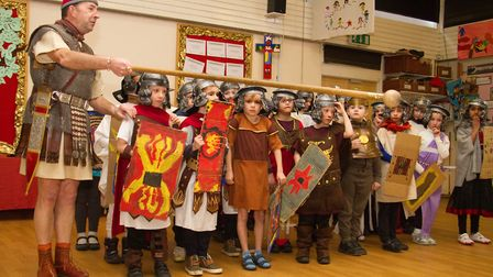 Roman Invasion Day at Littleham school. Ref exe 09 18TI 8445. Picture: Terry Ife