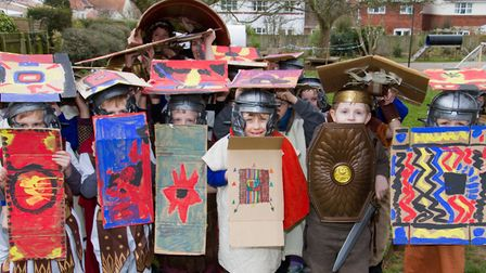 Roman Invasion Day at Littleham school. Ref exe 09 18TI 8416. Picture: Terry Ife
