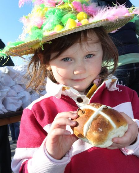 Milly Mann age three in her colourful Easter hat on Good Friday, 2012. Picture: Simon Horn