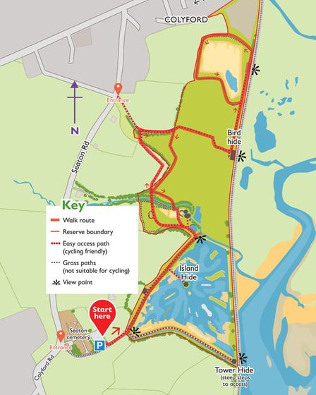The route for the Seaton Wetlands walk. Map © Crown Copyright and database rights 2016 Ordnance Surv