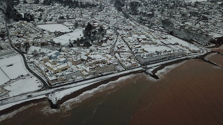 Snowy Sidmouth as seen from above. Picture: Danny Whittle