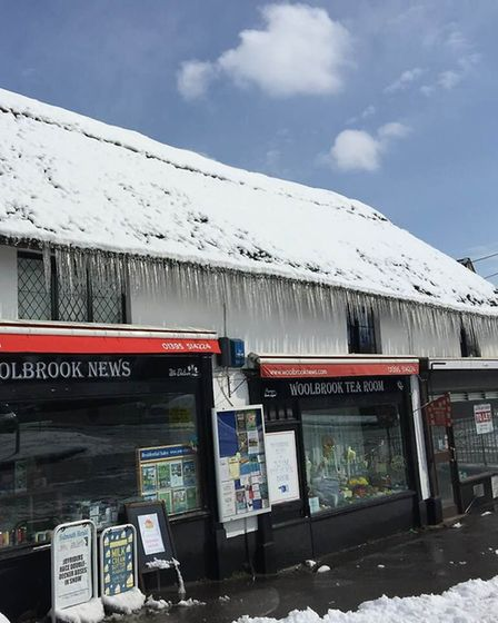 Long icicles dangling from Woolbrook News. Picture: Jill McGauley