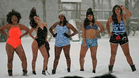 These Brazilians students staying at Alpine Park Cottages decided to brave the cold as it is the fir