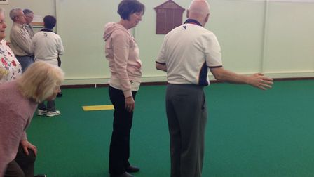 Coaching at the Sidmouth Bowls Club Open Day.