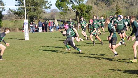 Action from the Sidmouth Under-15s meeting with Withycombe at Bicton College
