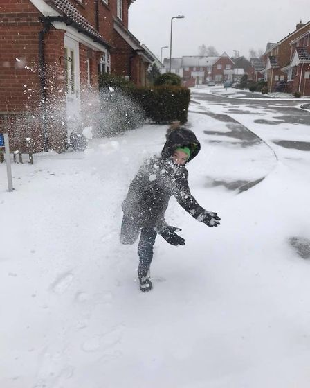Fun in the snow in Honiton. Picture: Tracey Crabb