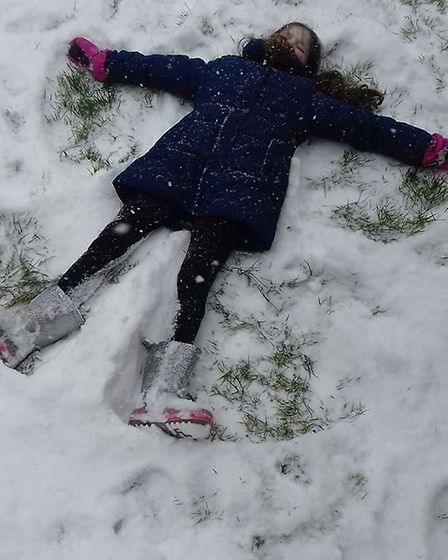 Snow angel in Tyrrell Mead. Picture: Beccy Sarah