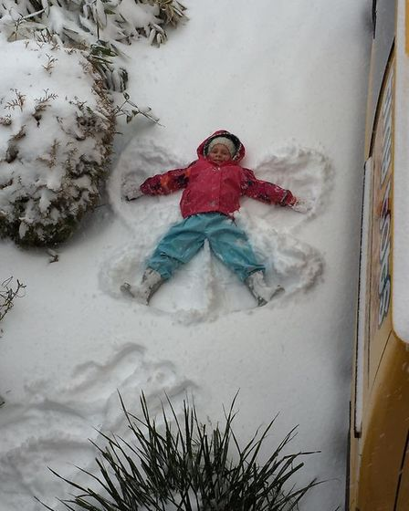 Making snow angels. Picture: Rebecca Knight