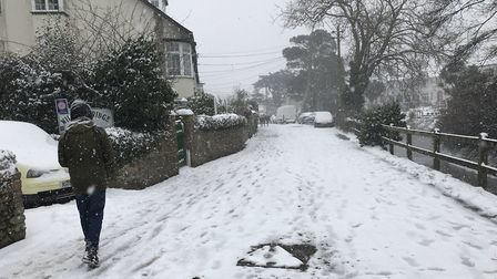 Jeremy Davy shared these photos on Twitter of Sidmouth in the snow.