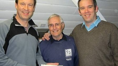 Johnny Palmer (centre) with Mike Dibble (left) and Sean Priestley (right) following Johnny's creatio